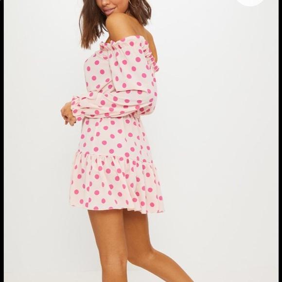 cc6a59b9238b8 Dusty pink polka dot Bardot tie waist shift dress.  M 5b3b906fdf030751c5ba5613